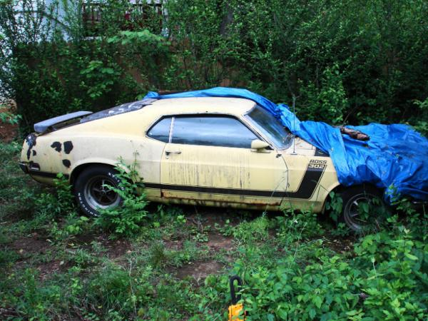 1970 Ford Mustang Boss 302 Under Tarp